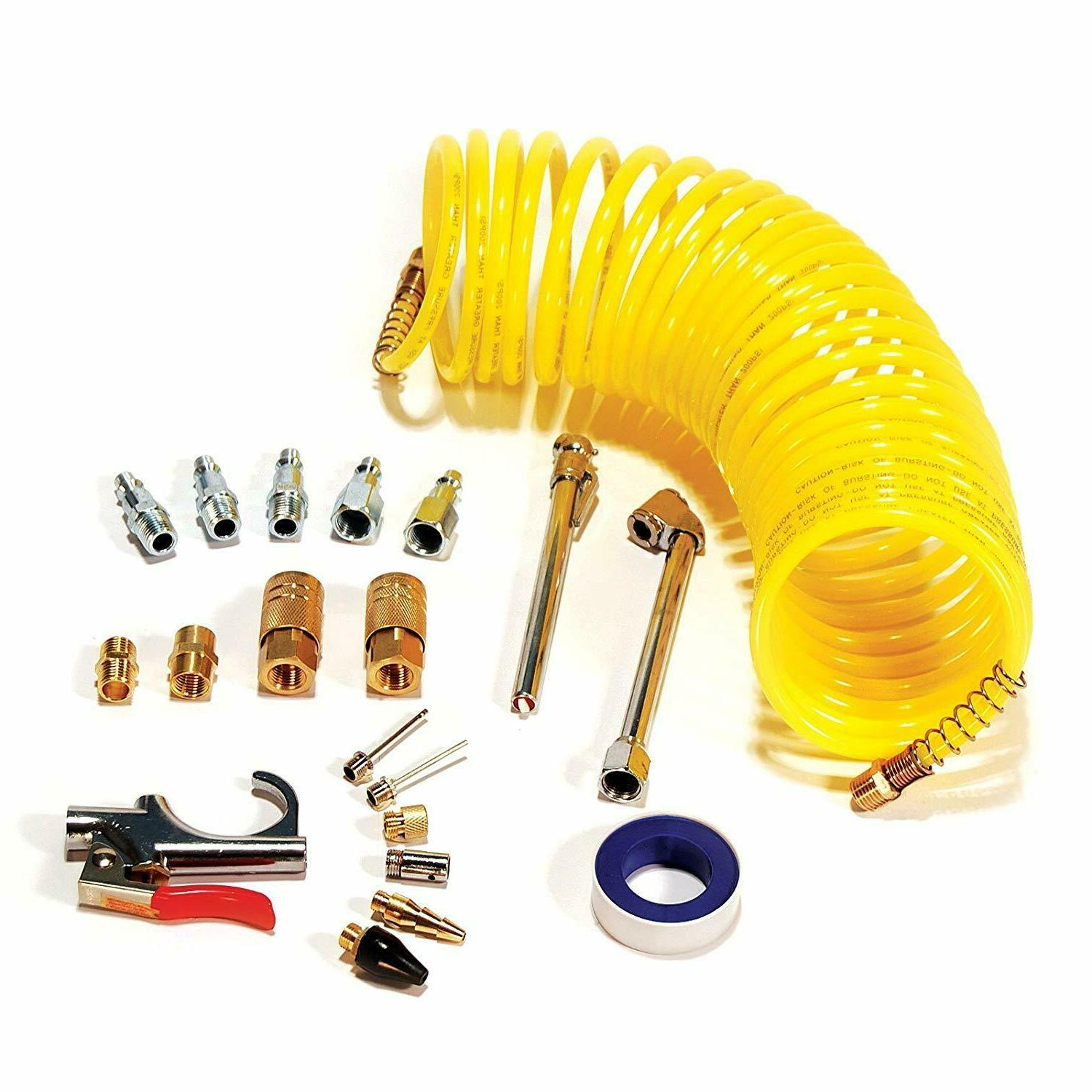 Primefit 20-Piece Air Accessory Kit with 25-Foot Recoil Air