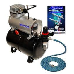 Master Airbrush NEW Quiet TANK COMPRESSOR- AIR HOSE and Now