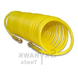 """25ft x 1/4"""" Recoil Air Hose Re Coil Spring Ends Pneumatic Co"""